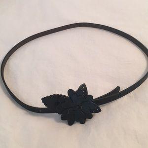Black Flower Anthropologie Belt; Small